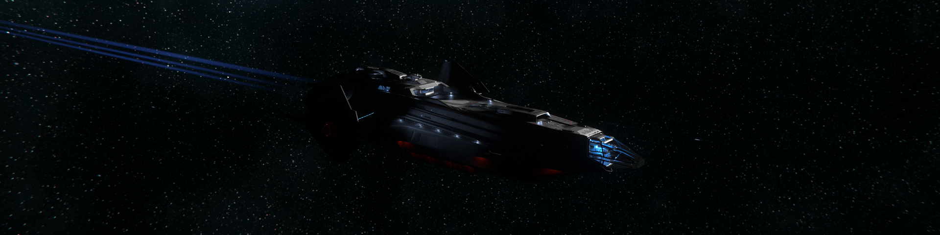 A exploration frigate cruising deeps space.